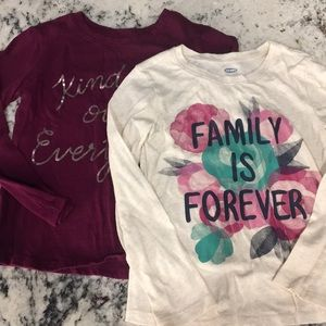 Two 5t old navy long sleeve tees